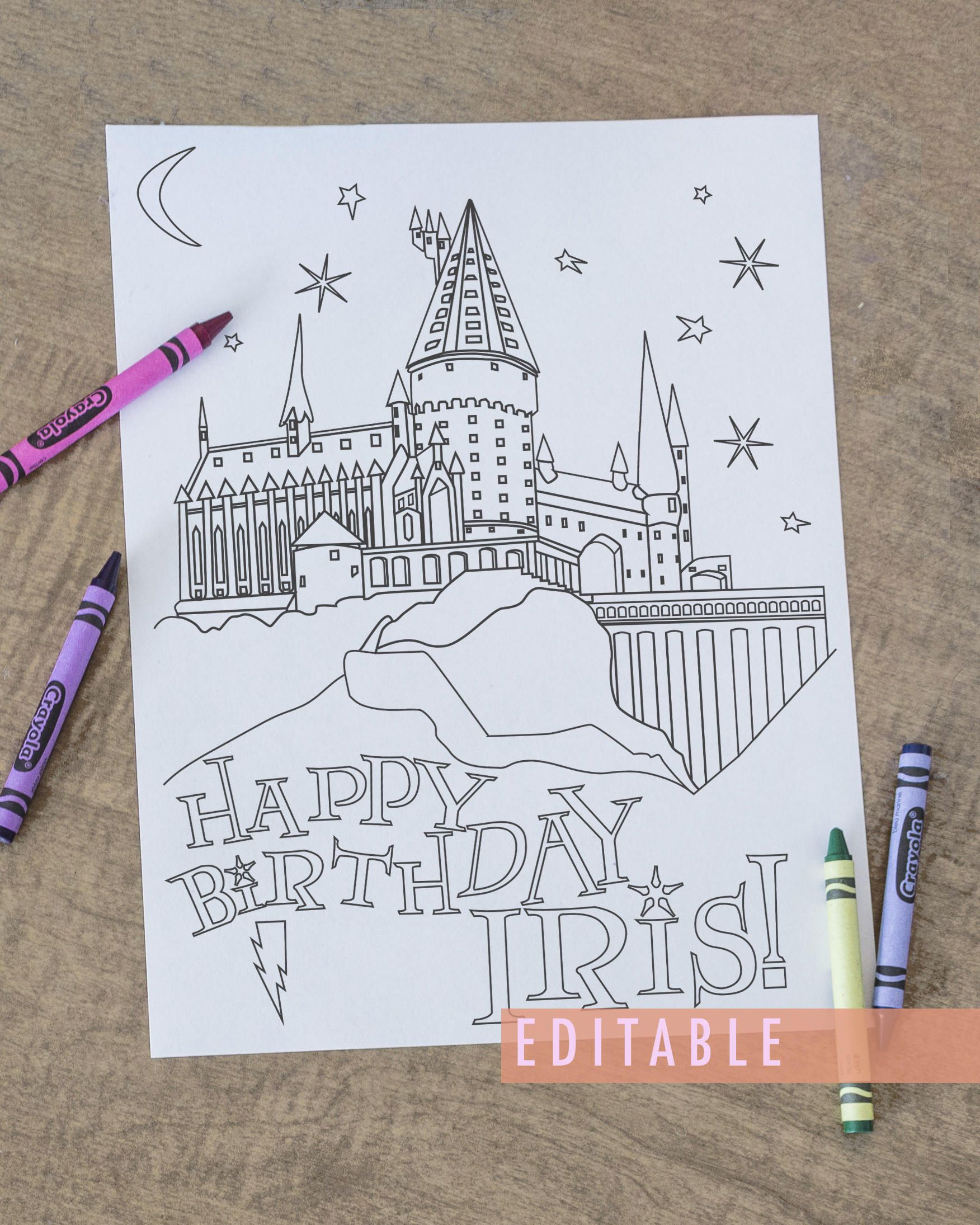 Printable Harry Potter Coloring Page Harry Potter Birthday Party Favor Printable Party Favor Printable Hogwarts Party Favor By Jlschulmanart On Etsy