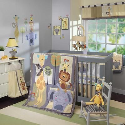 Jungle Safari Baby Zoo Animals 4 Piece Boys Infant Nursery Crib