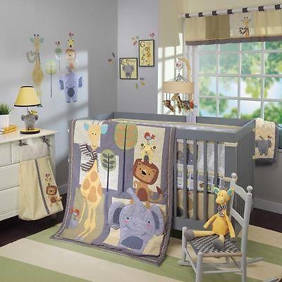 Jungle Safari Baby Zoo Animals 4 Piece Boys Infant Nursery Crib Bedding Set Baby Animal Nursery Theme Baby Animal Nursery Baby Room Signs