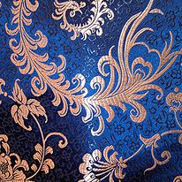 Royal Blue and Silver Damask fabric