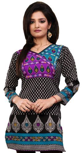 c255e7873d65f Indian Kurti Top Tunic Printed Womens Blouse India Clothes (Black