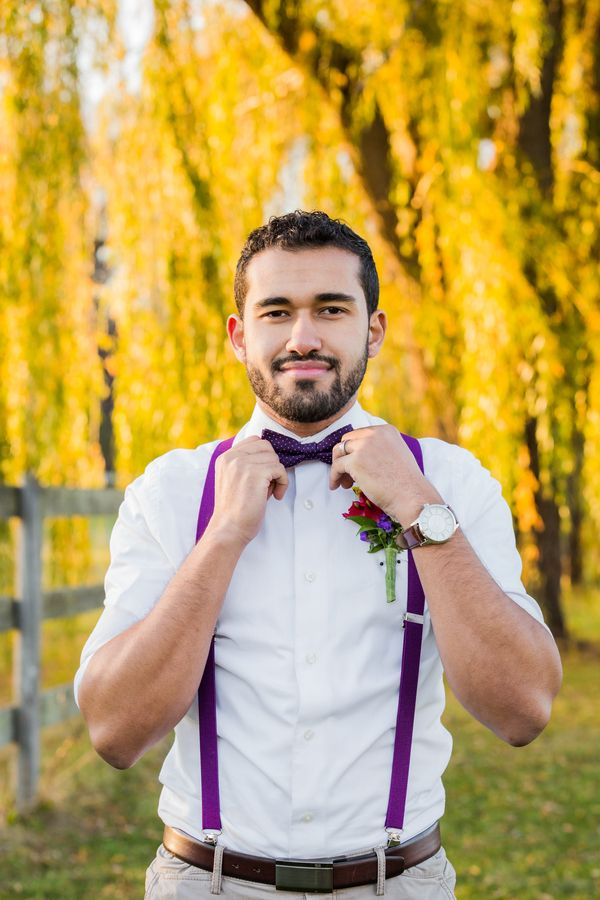 5d4e224ce26e Purple bow tie, purple suspenders|Pomegranates & Pears Harvest Inspired  Wedding Inspiration|Photographer: Being Joy Photography