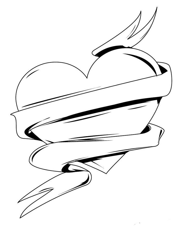 Hearts With Ribbons Coloring Pages Check More At Http