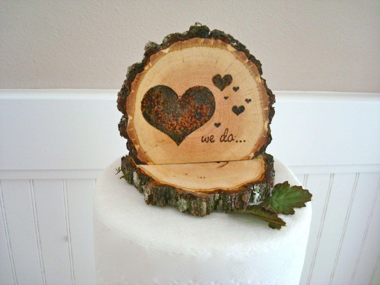 Rustic wedding cake topper handmade wood burned heart we