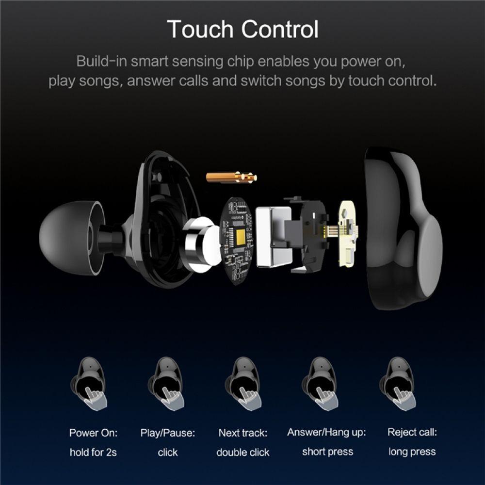 Bluetooth Touch Control Hifi Earphone With Mic Rockspace Eb30 Tws Wireless Earbuds Stereo Microphone For Phone With Charger Wireless Earbuds Earbuds Earphone