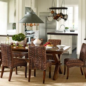 Pottery Barn Kitchen Table Lighting   Wicker dining chairs ...