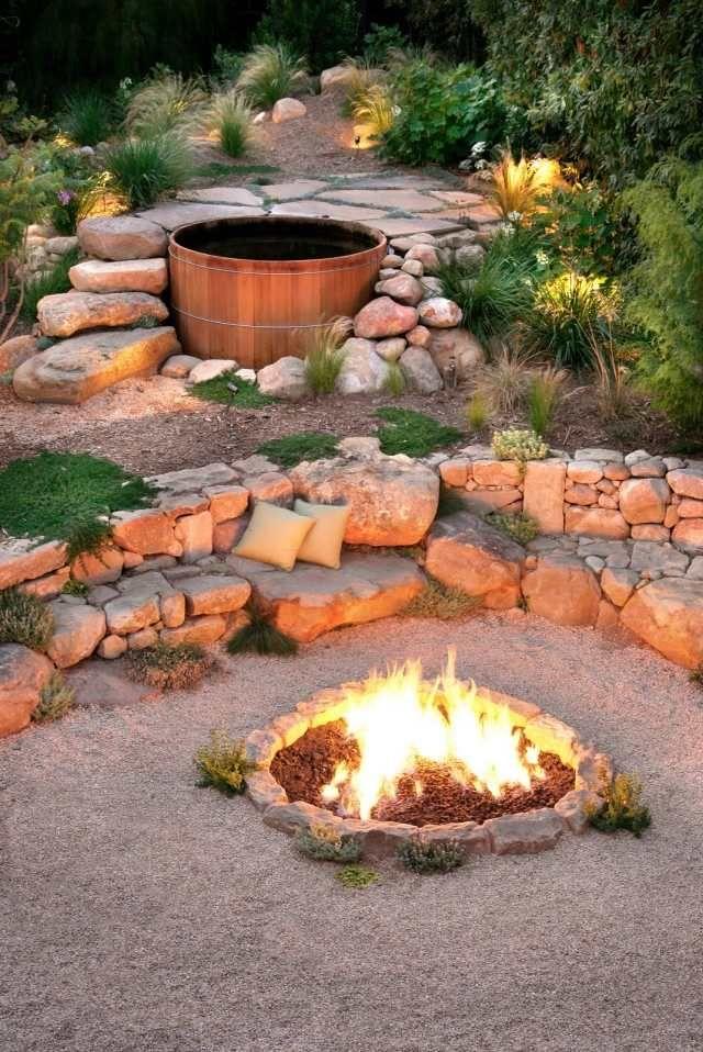 heiße badewanne holz garten feuerstelle ideen natürlich Garten