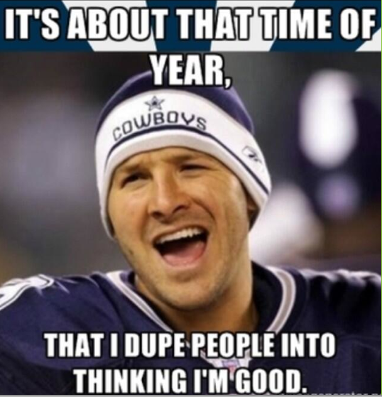 38743e6f3a332a0069b234f3a82622bd redskins end cowboys' 6 game streak, 20 17 in ot tony romo, tony,Cowboys Beat Steelers Meme
