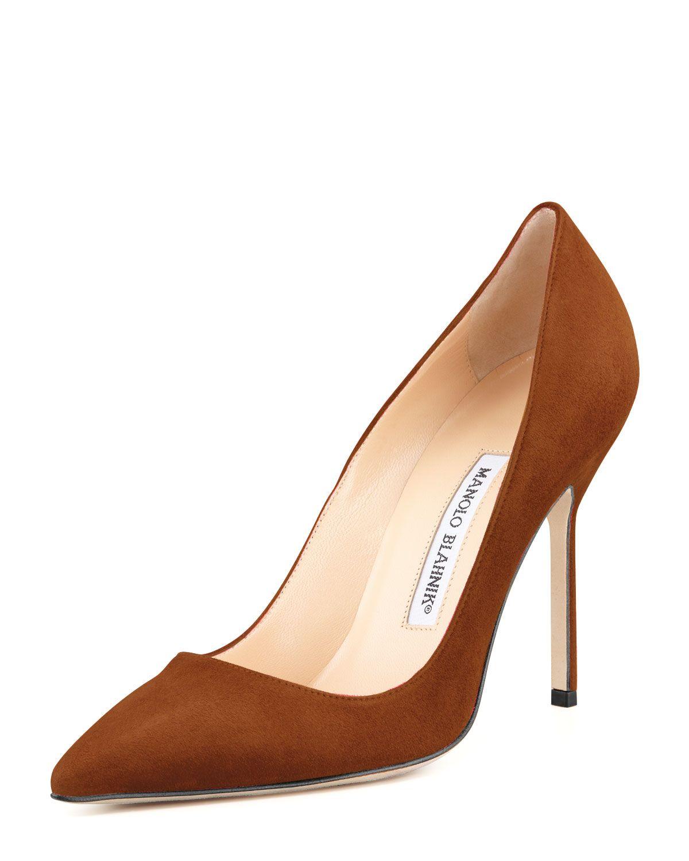 1312cb114fb18 BB Suede 105mm Pump Cognac in 2019 | Shoes♥ | Shoes, Manolo blahnik ...