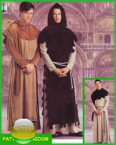 McCalls 9426 Medieval Monk Robe Monastery Garment Patterns | Mens ...