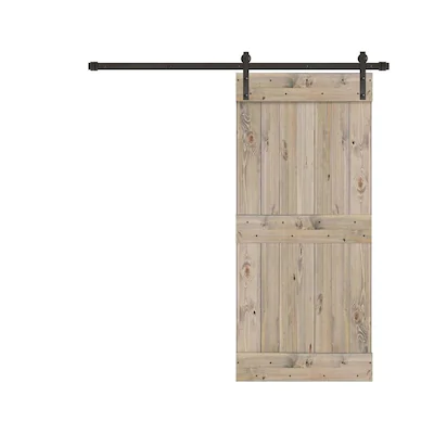Creative Entryways Sliding Weathered Gray Stained 2 Panel Wood Pine Barn Door Hardware Included Common 32 In X 80 In Actual 32 In X 84 In Lowes Com In 2020 Barn Door Barn Door Hardware Garage Door