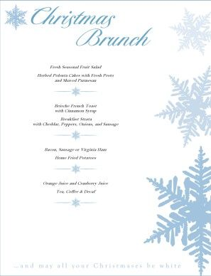 christmas brunch menu is inches wide x inches tall