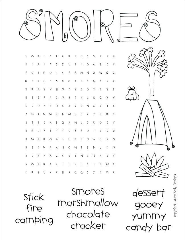 Smores Word Search Cuuuute With Images Girl Scout Camping