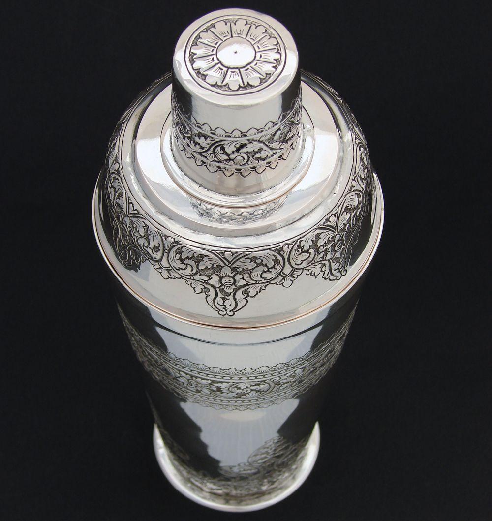 Antique Sterling Silver Cocktail Shaker Set Import Mark
