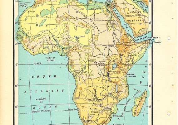 Map Of Africa Sahara Desert.Small Color Map Of Africa 1920s Geography Mountains Sahara Desert