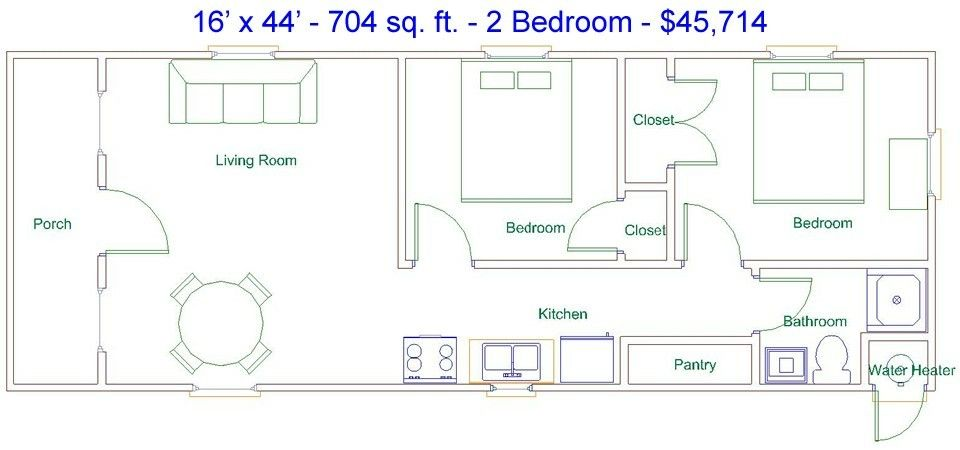 16x44 cabin floor plan cabin pinterest cabin floor for 16x32 cabin floor plans