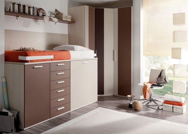 Juvenil con armario rinc ncompacto alto cajones - Fabricar cama abatible ...