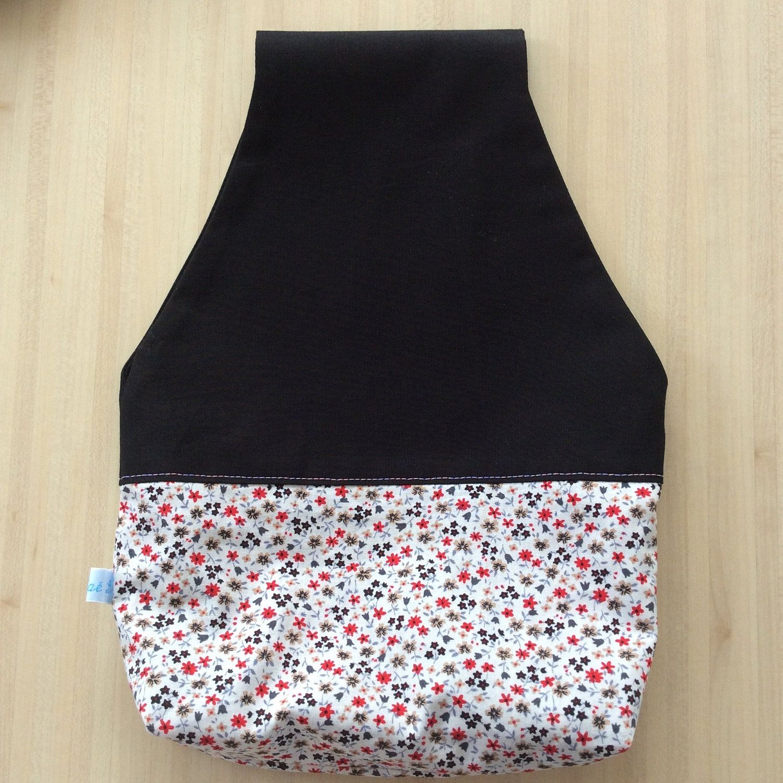 Sac à projet tricot ou crochet nomade - Pochon avec des fleurs pour vos encours
