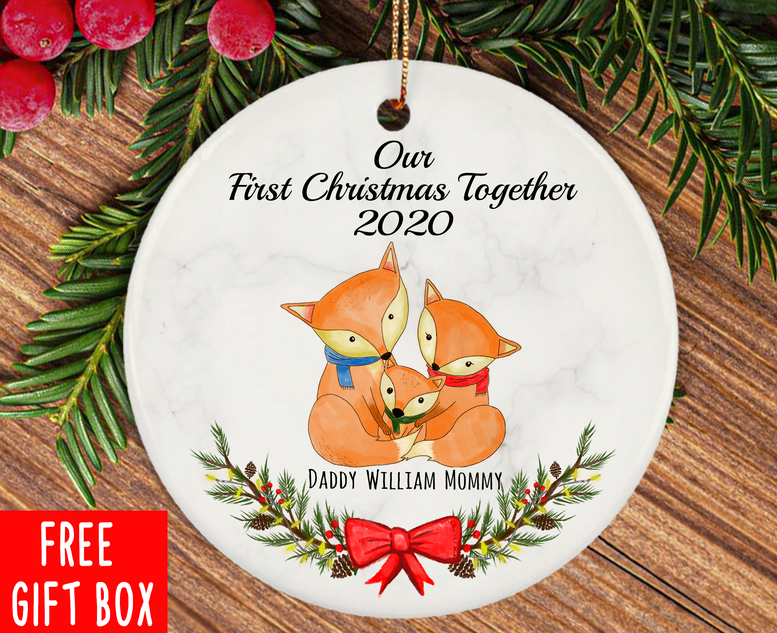 Personalized New Family Ornament Our First Christmas Together Etsy Baby Christmas Gifts Baby S First Christmas Gifts Our First Christmas Ornament