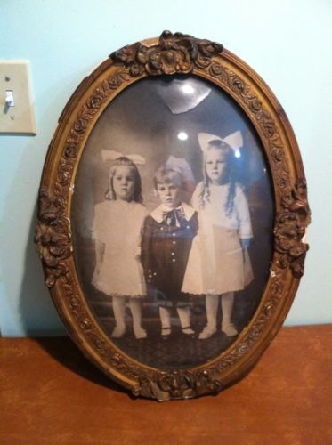 Antique Oval Domed Curved Glass Picture Frame with Children Portrait ...