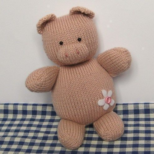 Penny Pig Toy Animal Knitting Pattern For Beginners From Fluff And