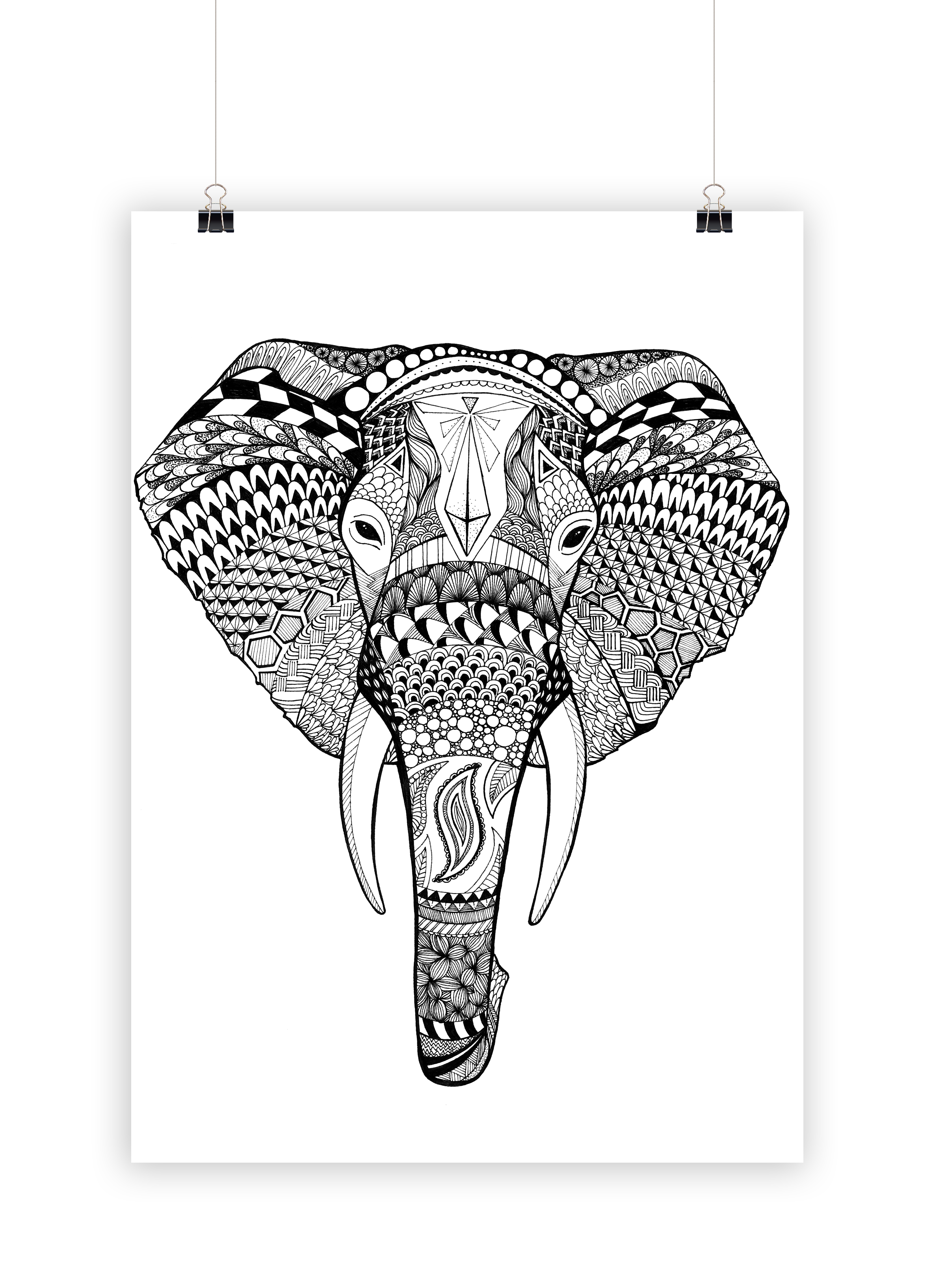 Zentangle Elefant Vorlage Zentangle Elefant Vorlage