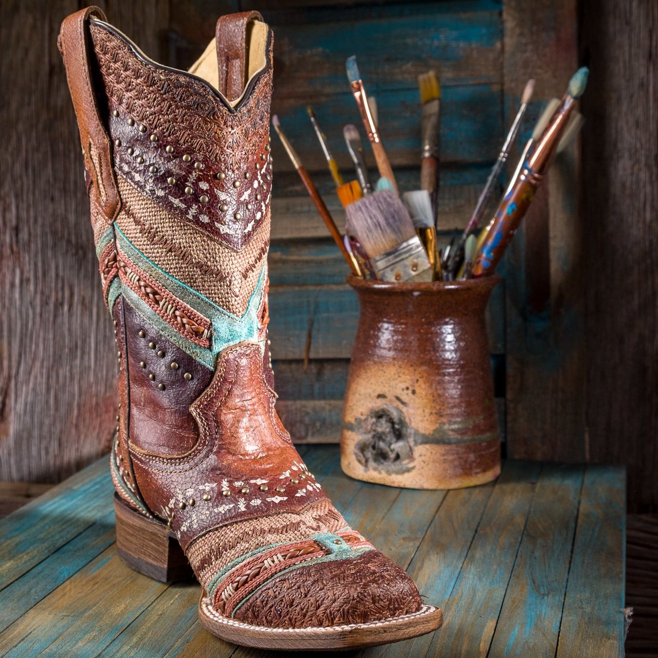 f30326c93ec Women's Corral Turquoise and Brown Embroidered Boots in 2019 | My ...