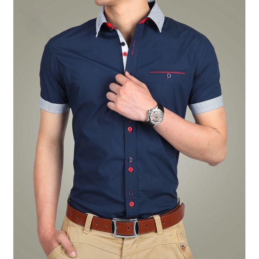 6a35844bb6e Men Shirts Short Sleeve Men Fashion Patchwork Casual Slim Fit Men s Social  Shirts Blue black white