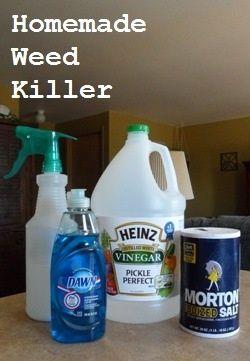 DIY Homemade Weed Killer - GETEST !  Samenstelling voor mijn oprit is 5 liter azijn, 70 gr zout en 50 gr afwaszeep.