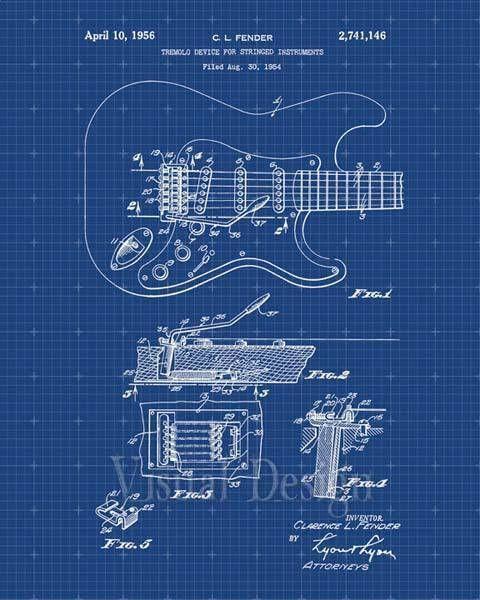 Fender Guitar Pickups Patent Print Art Print Patent Poster Guitars - copy coffee grinder blueprint