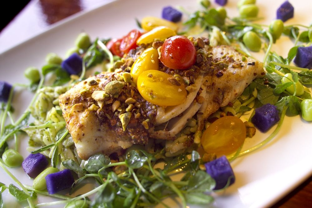 Pistachio crusted halibut baked