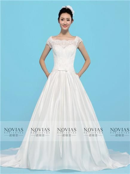 Short Sleeve Lace Bodice Bow Belt Satin Wedding Gown | Dresses ...
