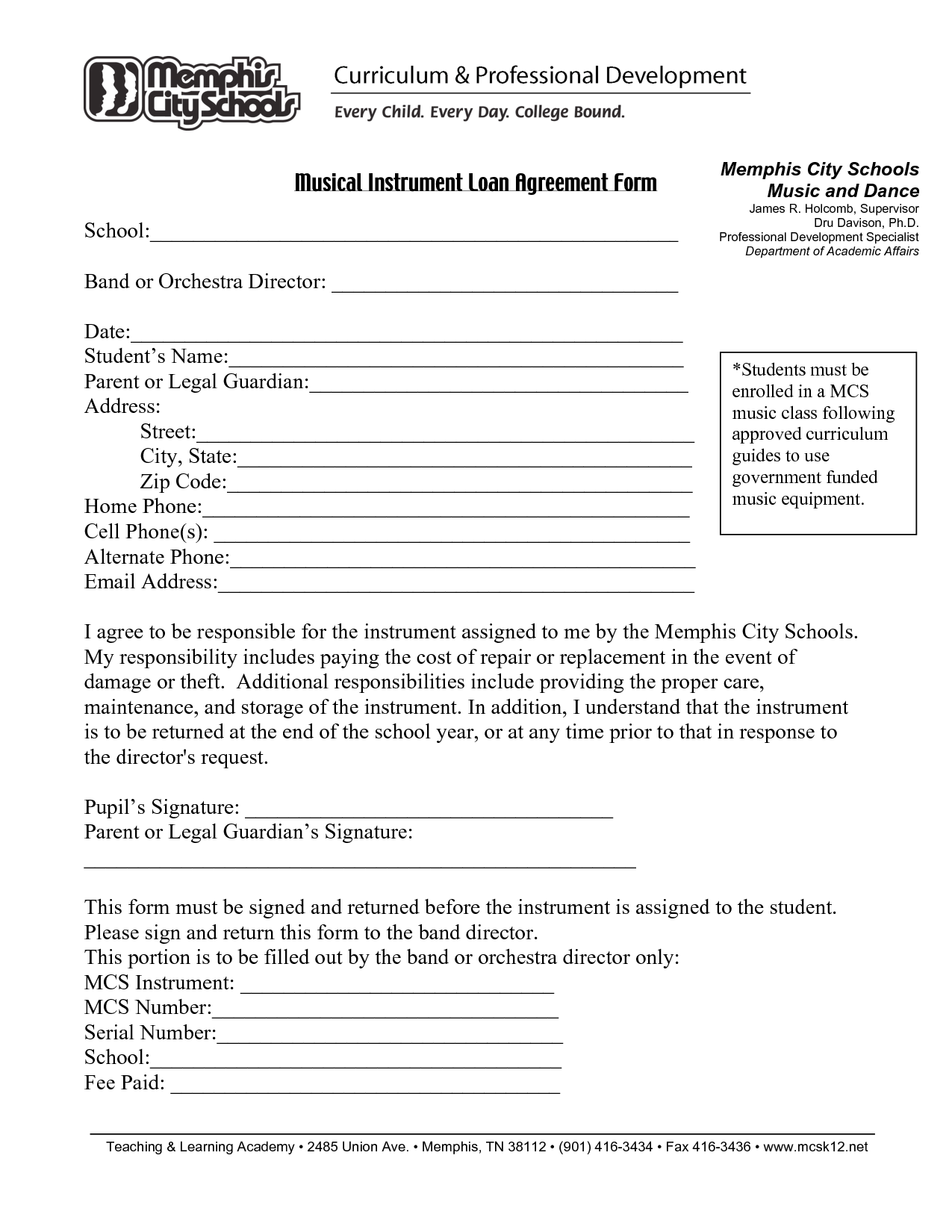 Printable Sample Loan Agreement Form Form  Bank Loan Agreement Format