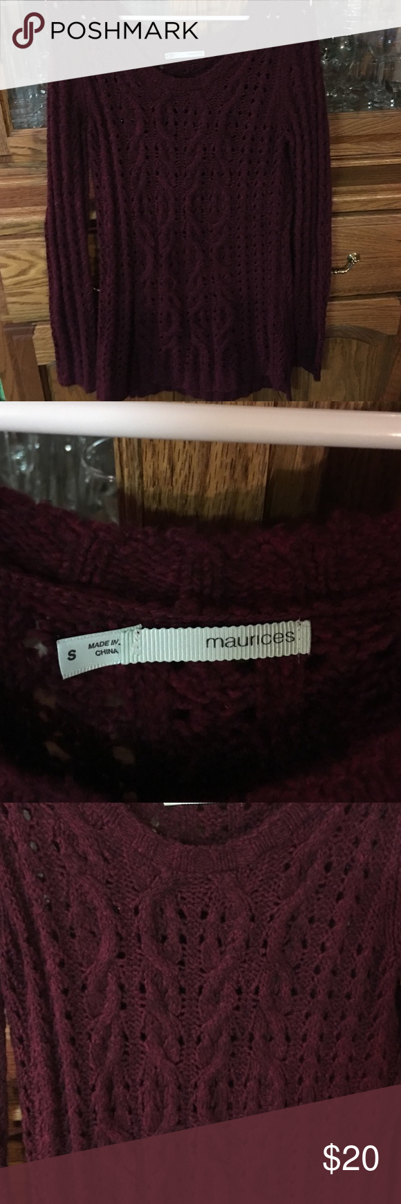 Maroon size Small Maurice's sweater Martin size small Maurice's sweater worn once is a longer style sweater Maurices Sweaters