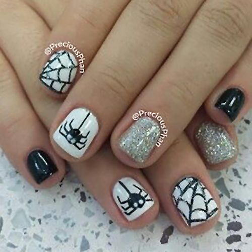 Halloween Nail Art Ideas Web Spider Black And White Silver Glitter Short Acrylic Gel Polish Cute Halloween Nails Simple Nails Trendy Nails