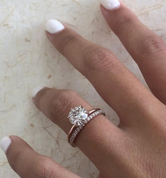 Photo of Diamond Engagement Ring, Round Brilliant Diamond Bridal Set, 1.80 Carat Solitaire Diamond Ring, …