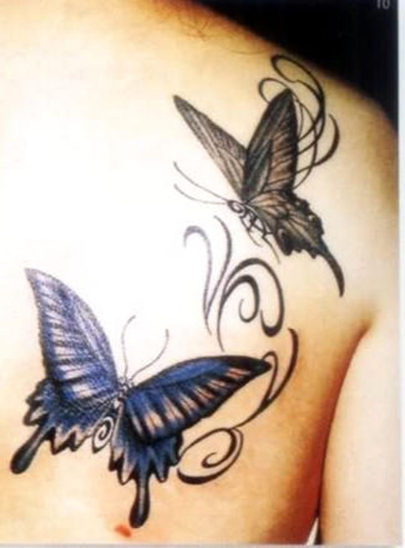 d5ca5cd8f Grey and Blue ink Butterfly Tattoos On Back Shoulder | Tats ...