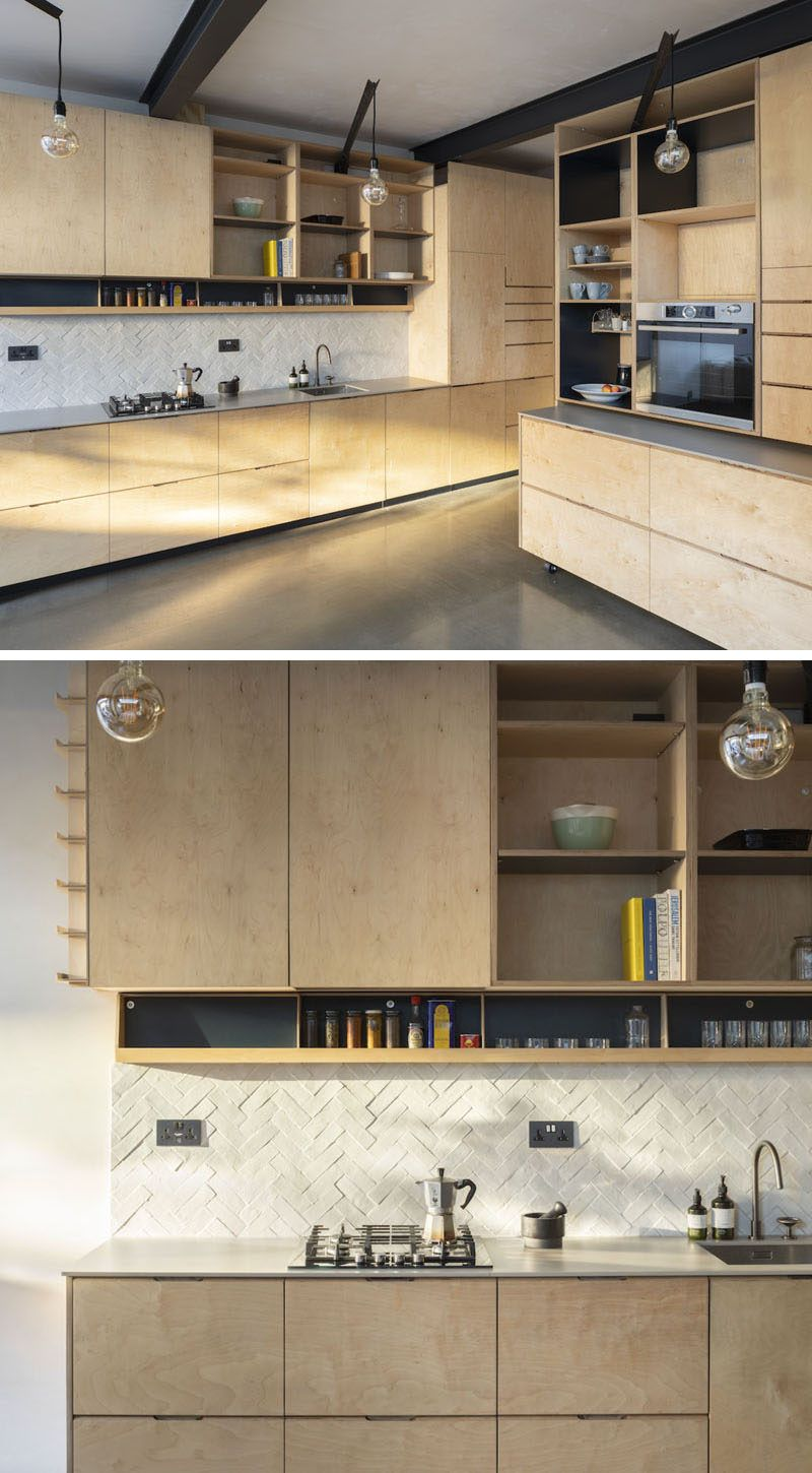 A London House Gained Extra Living Space Thanks To Rise Design Studio Plywood Kitchen Plywood House London House