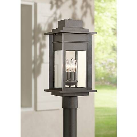 Bransford 19 1 2 H Black Specked Gray Outdoor Post Light 8m886 Lamps Plus Outdoor Post Lights Post Lights Outdoor Lamp Posts