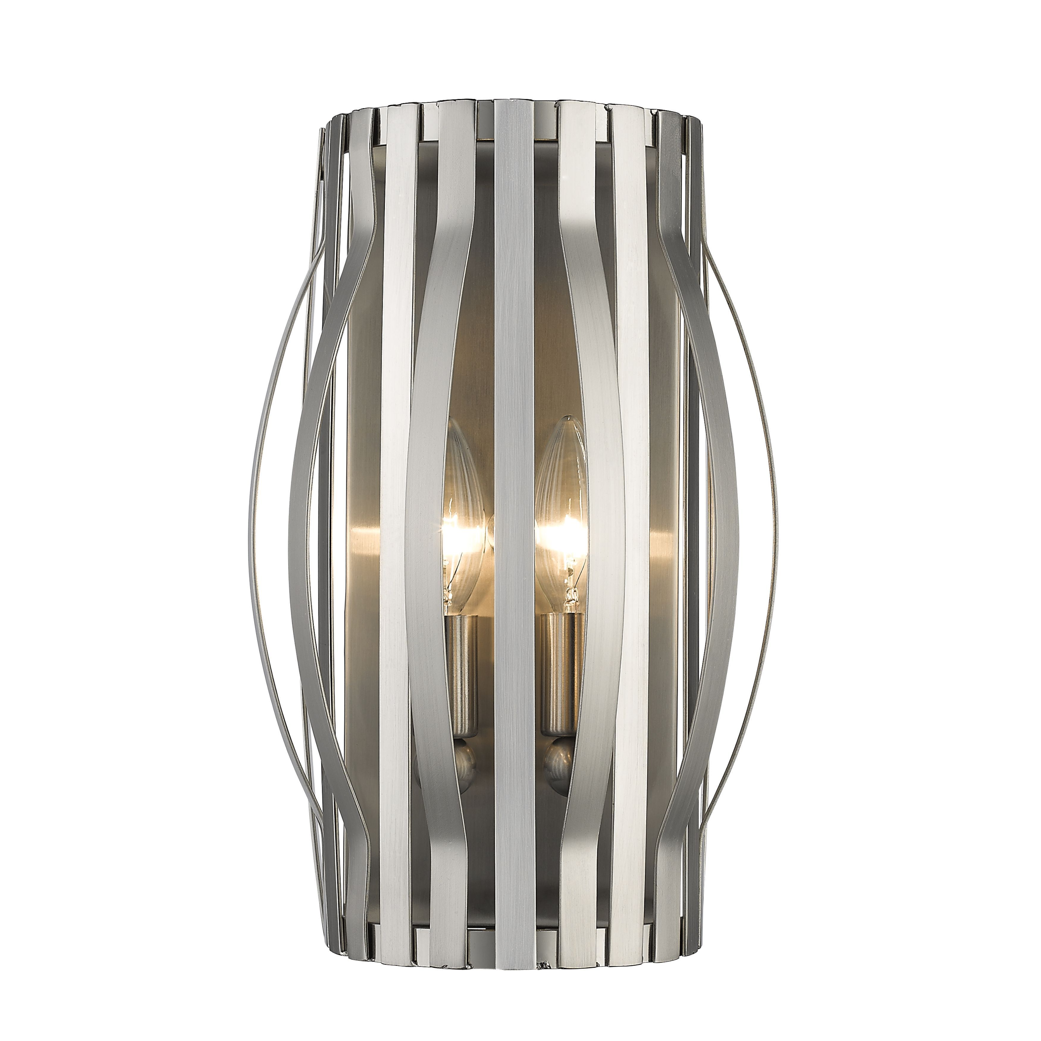 Z-Lite Moundou 2-light Wall Sconce in Brushed Nickel (Light), Silver (Metal)