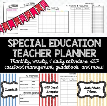 Special Education Teacher Planner For Any Year Caseload Management And More Special Education Teacher Teacher Planner Special Education
