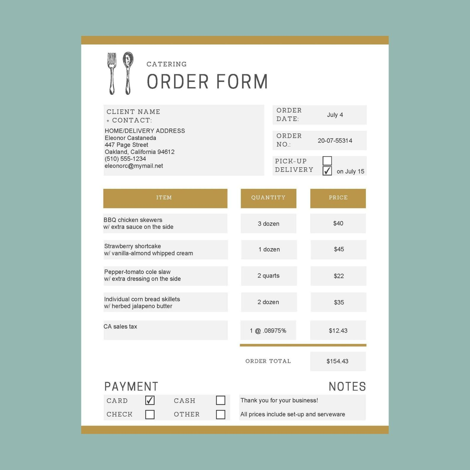 Catering order form template printable fillable PDF Etsy