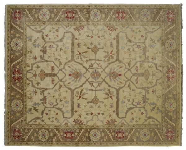 ASYA USHAK / TURKEY Item Number:24761 Width: 9 ft. 0 in. Length: 11 ft. 8 in. Field: ALL OVER PATTERN Field Color: BEIGE Border Color: BROW... (828)-687-1968 www.togarrugs.com