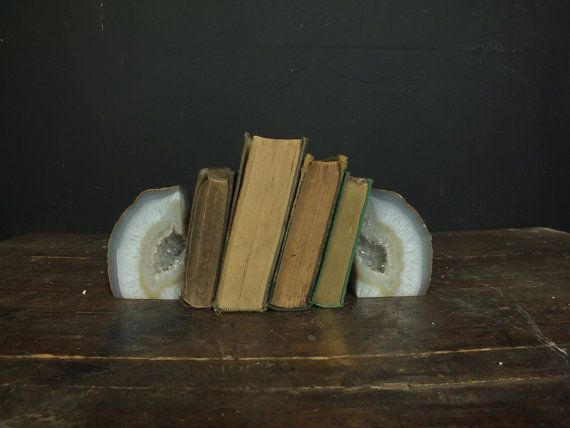 Gorgeous Vintage Pair of Polished Geode Specimen Bookends on Etsy, $48.00