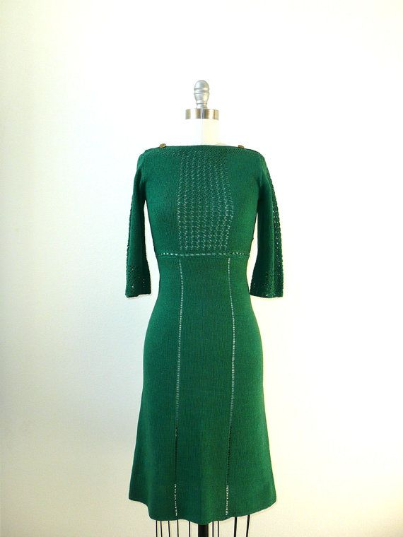 Green Sweater Dress Groovy Fashion Vintage 1930s Dress Vintage Outfits