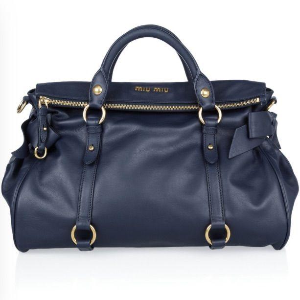 9d606dc8c85aa Miu Miu Vitello Lux Bow Large Bag In Navy | Accessories : Bag