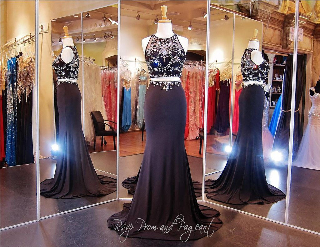 Black Crop Top Prom Dress-Two Piece-High Beaded Neckline ...