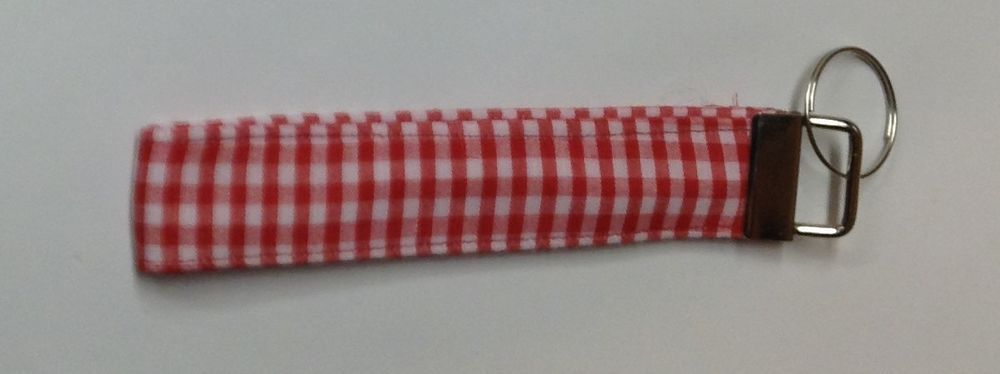 Red Checkered Fabric Handmade Key Chains/Key Fob, Patriotic, Birthday gift #Handmade