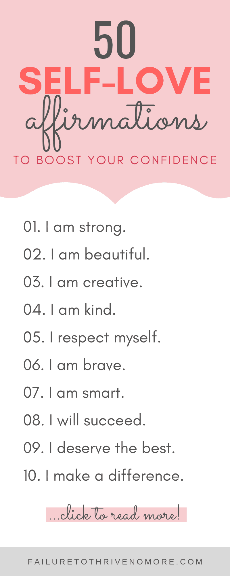 50 Self-love Affirmations to boost your confidence #affirmation #affirmationforanxiety #selflove #self-care #selfesteem #quotes #positive #dailyaffirmation #happiness #love #freebie #printables