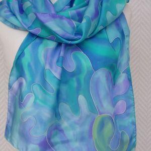 c7c8f7629d5 Echarpe soie turquoise violet